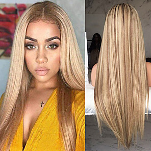cheap Synthetic Trendy Wigs-Synthetic Wig Straight kinky Straight Asymmetrical Wig Blonde Long Blonde Synthetic Hair 27 inch Women's Middle Part Blonde