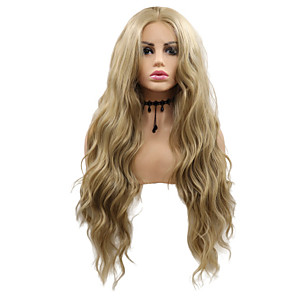 cheap Synthetic Trendy Wigs-Synthetic Lace Front Wig Wavy Layered Haircut Lace Front Wig Blonde Medium Length Light golden Synthetic Hair 26 inch Women's Party Women Blonde Sylvia