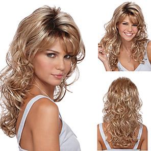 ieftine Peruci Fără Capac Sintetice-Peruci Sintetice Buclat Frizură Asimetrică Perucă Blond Lung Blond Păr Sintetic 27 inch Pentru femei Blond