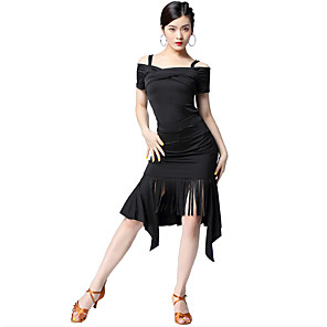 cheap Latin Dancewear-Latin Dance Dress Tassel Split Women's Party Performance Short Sleeve Natural Milk Fiber