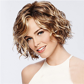 cheap Synthetic Trendy Wigs-Synthetic Wig Curly Asymmetrical Wig Short Golden Brown Synthetic Hair 11 inch Women's Best Quality curling Blonde
