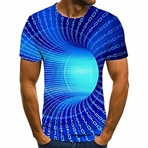 cheap Boys' Tops-Men's Daily Plus Size T-shirt 3D Graphic Short Sleeve Tops Basic Round Neck Blue Purple Yellow