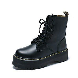 cheap Women's Boots-Women's Boots Creepers Round Toe PU Mid-Calf Boots Fall Black / White / Red