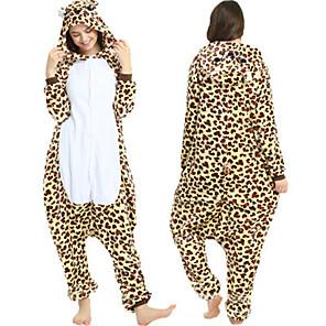cheap Kigurumi Pajamas-Adults' Leopard Bear Kigurumi Pajamas Onesie Pajamas Polar Fleece Brown Cosplay For Animal Sleepwear Cartoon Halloween Festival / Holiday / Christmas