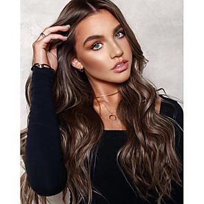cheap Synthetic Trendy Wigs-Synthetic Wig Body Wave Asymmetrical Wig Long Brown Synthetic Hair 25 inch Women's Best Quality Middle Part Brown