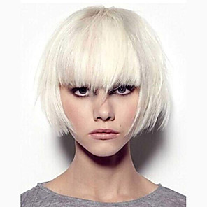 cheap Synthetic Trendy Wigs-Synthetic Wig kinky Straight Bob Neat Bang Wig Short White Synthetic Hair 7 inch Women's White