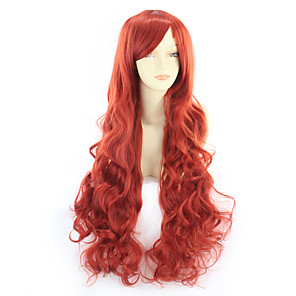 cheap Synthetic Trendy Wigs-Synthetic Wig Curly Asymmetrical Wig Very Long Watermelon Red Synthetic Hair 31 inch Women's Red