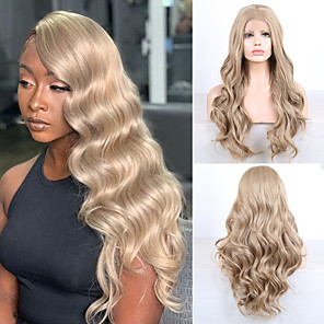 cheap Synthetic Lace Wigs-Synthetic Lace Front Wig Wavy Middle Part Lace Front Wig Blonde Long Golden Brown / Ash Blonde Synthetic Hair 18-26 inch Women's Cosplay Soft Adjustable Blonde