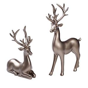 cheap Jewelry & Cosmetic Storage-Couple Deer Ornaments Figurine Statues Creative Interior Car Ornaments Cake Decorations Desktop
