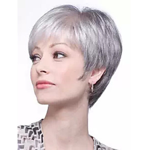 cheap Synthetic Trendy Wigs-Synthetic Wig Curly Asymmetrical Wig Short Grey Synthetic Hair 27 inch Women's White