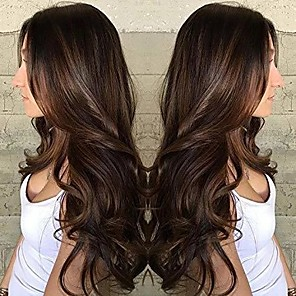 cheap Synthetic Trendy Wigs-Synthetic Wig Body Wave Asymmetrical Wig Long Brown Synthetic Hair 25 inch Women's curling Brown