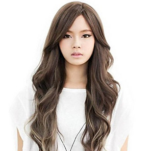 cheap Synthetic Lace Wigs-Synthetic Wig Body Wave Asymmetrical Wig Long Brown Synthetic Hair 27 inch Women's Brown