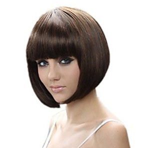 cheap Synthetic Trendy Wigs-Synthetic Wig Straight Bob Neat Bang Wig Short Brown Synthetic Hair 13 inch Women's Best Quality Brown