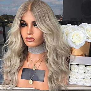 cheap Premium Synthetic Lace Wigs-Synthetic Wig Body Wave Asymmetrical Wig Blonde Long Blonde Synthetic Hair 27 inch Women's Best Quality Middle Part Blonde