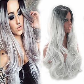 cheap Music Boxes-Synthetic Wig Bouncy Curl Asymmetrical Wig Long Ombre Grey Synthetic Hair 27 inch Women's Best Quality curling Gray