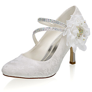 cheap Wedding Shoes-Women's Wedding Shoes Glitter Crystal Sequined Jeweled Stiletto Heel Closed Toe Satin Sweet Spring & Summer / Fall & Winter Ivory