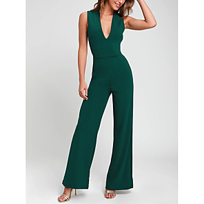 cheap Wedding Wraps-Jumpsuits Minimalist Engagement Formal Evening Dress V Neck Sleeveless Ankle Length Satin with Criss Cross 2020
