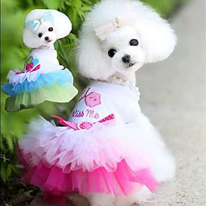cheap Dog Clothes-Dog Cat Dress Princess Dog Clothes Blue Pink Costume Husky Labrador Alaskan Malamute Polyester Cotton Solid Colored Princess Romantic Sweet XS S M L XL XXL