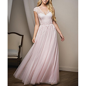 cheap Latin Dancewear-A-Line Plunging Neck Floor Length Lace / Tulle Bridesmaid Dress with Lace