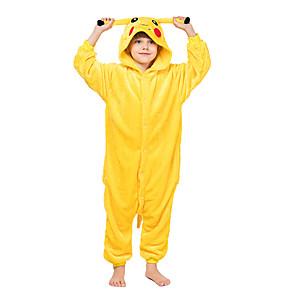 cheap Kigurumi Pajamas-Kid's Kigurumi Pajamas Pika Pika Animal Onesie Pajamas Flannel Toison Yellow Cosplay For Boys and Girls Animal Sleepwear Cartoon Festival / Holiday Costumes