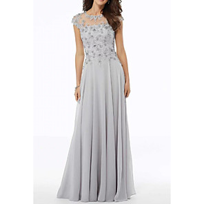 cheap Evening Dresses-A-Line Mother of the Bride Dress Elegant Jewel Neck Floor Length Chiffon Tulle Short Sleeve with Embroidery Appliques 2020