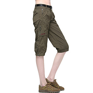cheap Hiking Trousers & Shorts-Women's Hiking Shorts Solid Color Summer Outdoor Relaxed Fit Breathable Quick Dry Sweat-wicking Low-friction Elastane Shorts Pants / Trousers Bottoms Army Green Camping / Hiking Fishing Hiking S M L