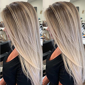 cheap Synthetic Trendy Wigs-Synthetic Wig Straight Asymmetrical Wig Blonde Long Blonde Synthetic Hair 27 inch Women's Best Quality Waterfall Blonde