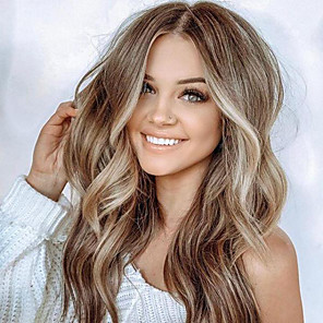 cheap Synthetic Trendy Wigs-Synthetic Wig Body Wave Asymmetrical Wig Blonde Long Light golden Synthetic Hair 23 inch Women's curling Blonde