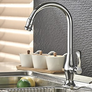 cheap Kitchen Faucets-Kitchen faucet - Single Handle One Hole Electroplated Standard Spout / Tall / High Arc Centerset Contemporary Kitchen Taps