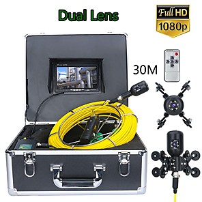 cheap CCTV Cameras-F7PS-2C-30M 7inch DVR 30M 1080P HD Dual Camera Lens Drain Sewer Pipeline Industrial Endoscope Pipe Inspection Video Camera