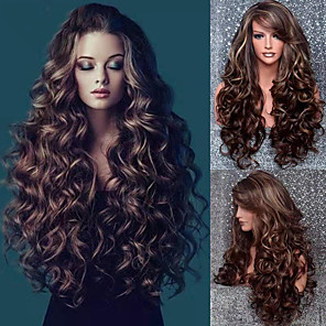 cheap Synthetic Lace Wigs-Synthetic Wig Curly Asymmetrical Wig Long Brown Synthetic Hair 24 inch Women's Best Quality curling Brown