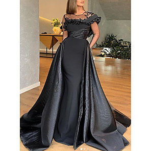 cheap Party Sashes-A-Line Elegant Engagement Formal Evening Dress Jewel Neck Short Sleeve Sweep / Brush Train Satin with Ruffles 2020