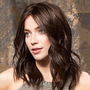 cheap Synthetic Trendy Wigs-Synthetic Wig Body Wave Asymmetrical Wig Long Brown Synthetic Hair 20 inch Women's Best Quality curling Brown