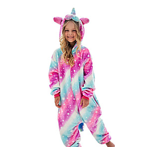 cheap Anime Costumes-Kid's Kigurumi Pajamas Unicorn Flying Horse Onesie Pajamas Flannel Fabric White+Blue / Pink / Green Cosplay For Boys and Girls Animal Sleepwear Cartoon Festival / Holiday Costumes / Leotard / Onesie