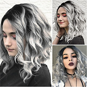 cheap Synthetic Trendy Wigs-Synthetic Wig Loose Curl Asymmetrical Wig Medium Length Grey Synthetic Hair 15 inch Women's Color Gradient Best Quality Gray