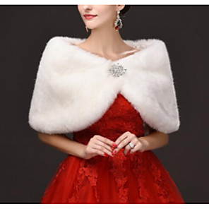 cheap Wedding Wraps-Sleeveless Capelets Faux Fur Wedding Women's Wrap With Crystal Brooch