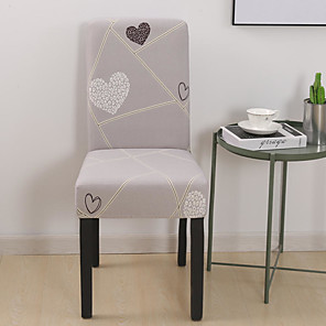 cheap Chair Cover-Heart Chair Cover Stretch Removable Washable Dining Room Chair Protector Slipcovers Home Decor Dining Room Seat Cover