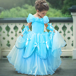 cheap Movie & TV Theme Costumes-Princess Belle Vintage Dress Gloves Party Costume Flower Girl Dress Girls' Kid's Costume Sky Blue / Yellow / Lavender Vintage Cosplay Sleeveless