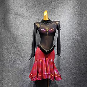 cheap Latin Dancewear-Latin Dance Dress Split Joint Women's Performance Long Sleeve Tulle