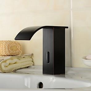 abordables Robinets de Lavabo-Robinet lavabo - non tactile Plaqué Set de centre Mitigeur un trouBath Taps