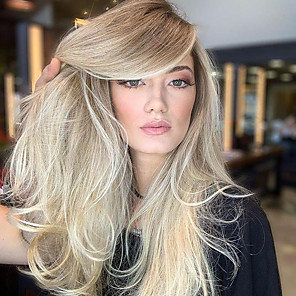 cheap Synthetic Trendy Wigs-Synthetic Wig Body Wave Asymmetrical Wig Blonde Long Light Blonde Synthetic Hair 25 inch Women's Best Quality Blonde