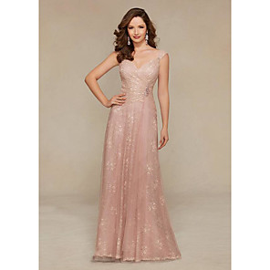 cheap Evening Dresses-Sheath / Column Elegant Pink Wedding Guest Formal Evening Dress V Neck Sleeveless Floor Length Lace Satin with Criss Cross Crystals 2020