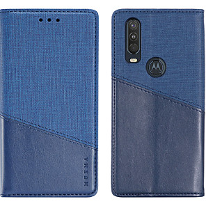 cheap OPPO Case-Case For Motorola MOTO One Vision / MOTO one action Card Holder / Shockproof Full Body Cases Solid Colored PU Leather