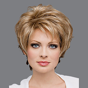cheap Synthetic Trendy Wigs-Synthetic Wig kinky Straight Asymmetrical Wig Blonde Short Blonde Synthetic Hair 6 inch Women's Fluffy Blonde