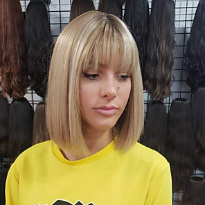 cheap Synthetic Lace Wigs-Synthetic Wig Straight Bob Neat Bang Wig Blonde Short Blonde Synthetic Hair 11 inch Women's Best Quality Blonde