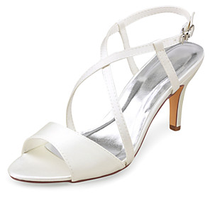 cheap Wedding Shoes-Women's Wedding Shoes Stiletto Heel Open Toe Buckle Satin Summer Ivory / Party & Evening