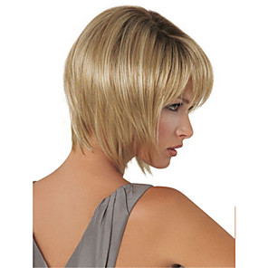 cheap Costume Wigs-Synthetic Wig Straight kinky Straight Asymmetrical Wig Blonde Short Light golden Synthetic Hair 5 inch Women's Blonde
