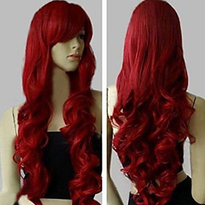 cheap Synthetic Trendy Wigs-Synthetic Wig Curly Body Wave Asymmetrical Wig Long Red Synthetic Hair 31 inch Women's Best Quality Red