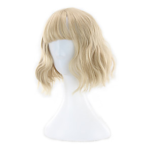 cheap Synthetic Trendy Wigs-Synthetic Wig Curly Neat Bang Wig Blonde Short Blonde Synthetic Hair 13 inch Women's Blonde