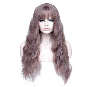 cheap Synthetic Trendy Wigs-Synthetic Wig Curly Asymmetrical Wig Long Light golden Light Brown Grey Natural Black Bright Purple Synthetic Hair 27 inch Women's Best Quality Black Light Brown